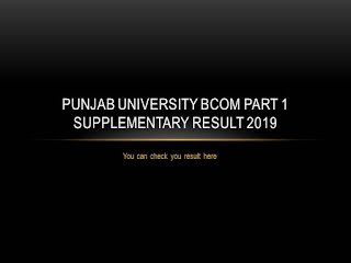 punjab university bcom part 1 supplementary result 2019