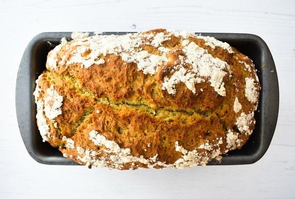 Making Pesto Beer Bread - Step 7 - Baked beer bread, crisp and golden