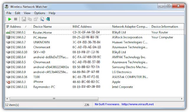 Wireless Network Watcher, wifi'ye bağlı cihazları gösteren program