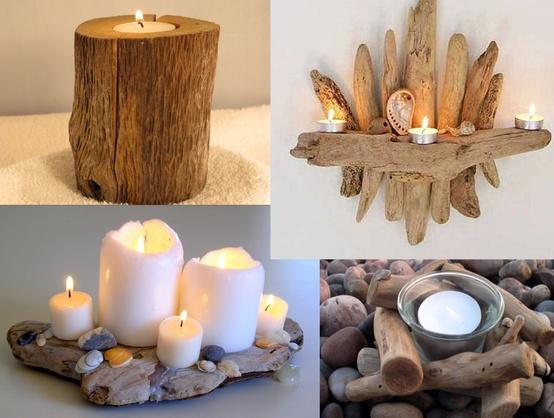 Ενδιαφέρουσες κατασκευές για βάσεις κεριών από ξεβρασμένα ξύλα