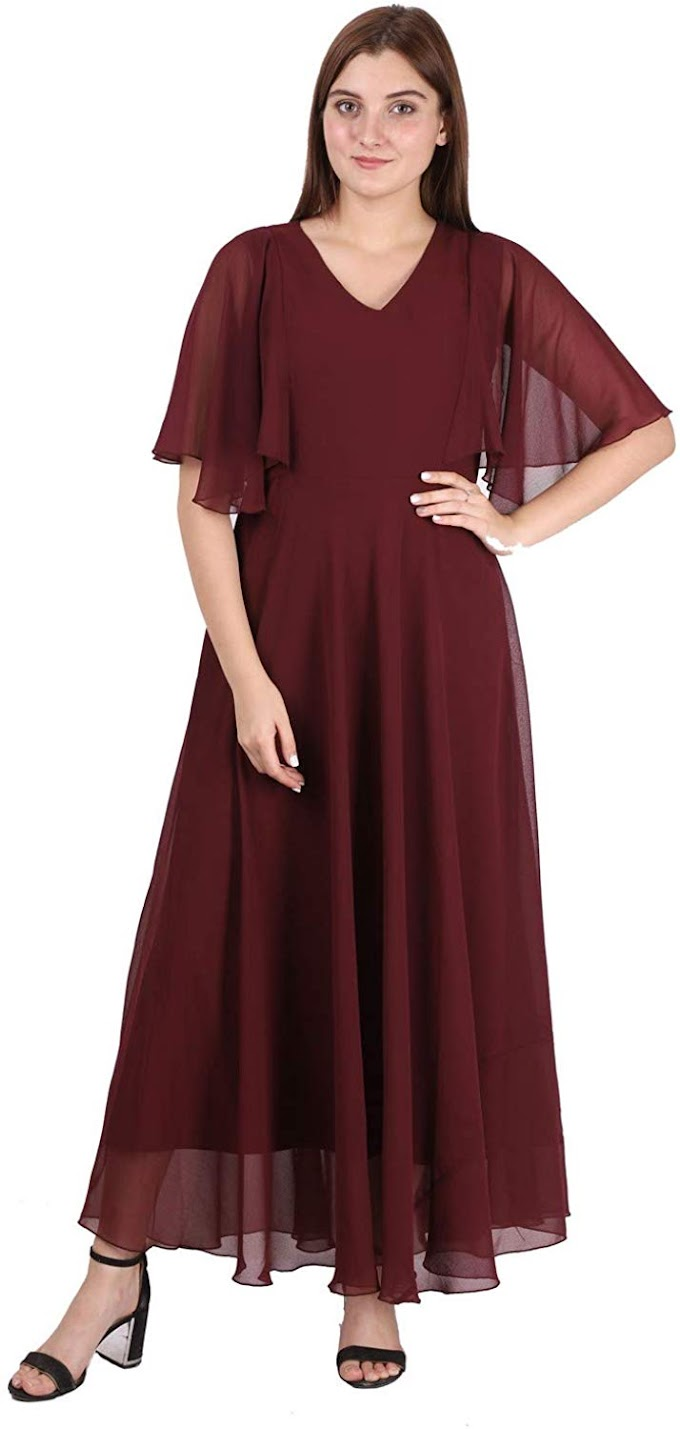 HELLO DESIGN Women's Georgette A-Line Flared Maxi Dress with Ruffle Sleeve Maxi Dresses