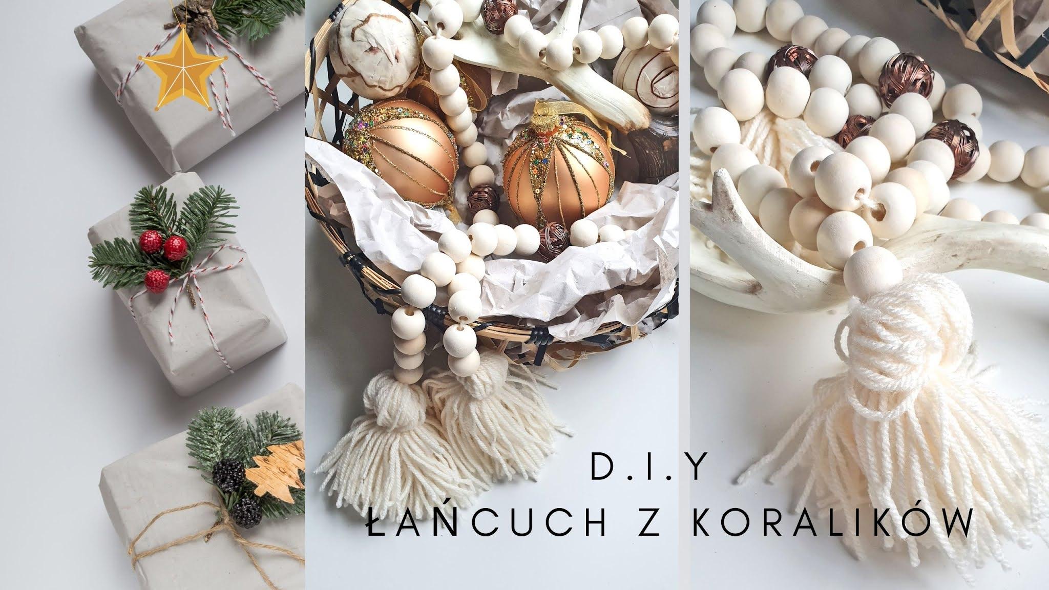 DIY Łańcuch z drewnianych koralików.