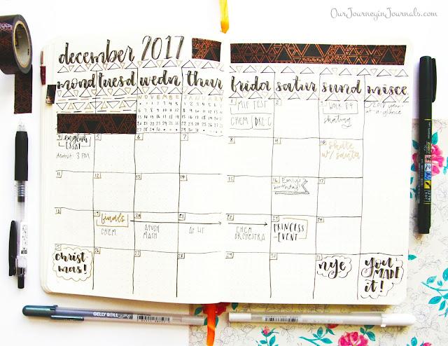 December bullet journal monthly spread