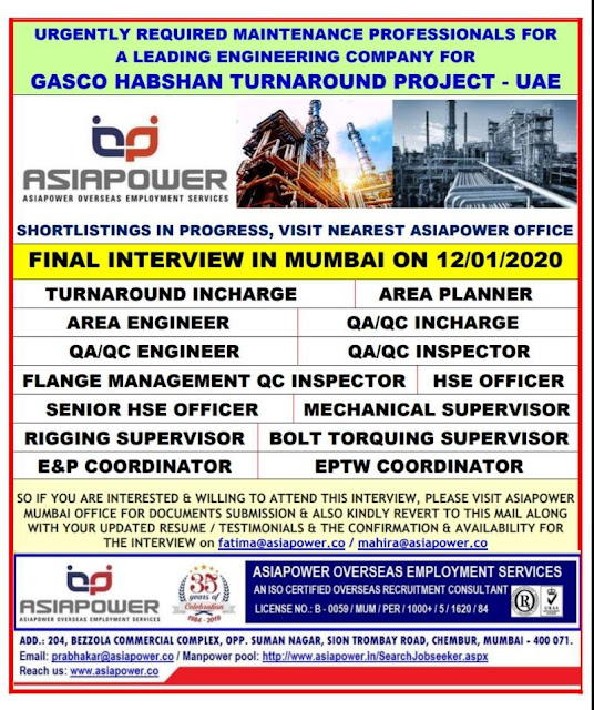 UAE Jobs, Oil & Gas Jobs, Turnaround Shutdown Jobs, Shutdown Jobs, QA/QC Jobs, HSE Jobs, Rigging Supervisor, Mechanical Supervisor, Asiapower Jobs,