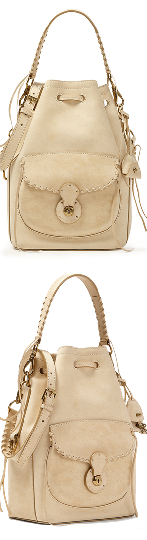 Ralph Lauren Ricky Drawstring Bag in Cream