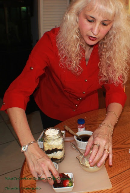 this is myself in a photo making brownie tiramisu for a TV show called the Balancing Act