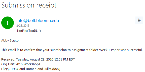 screenshot of submission receipt for assignment submission folder