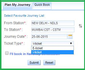 Different types of Online Trian Tickets