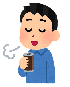コーヒーで一服している人のイラスト(男性・缶コーヒー)