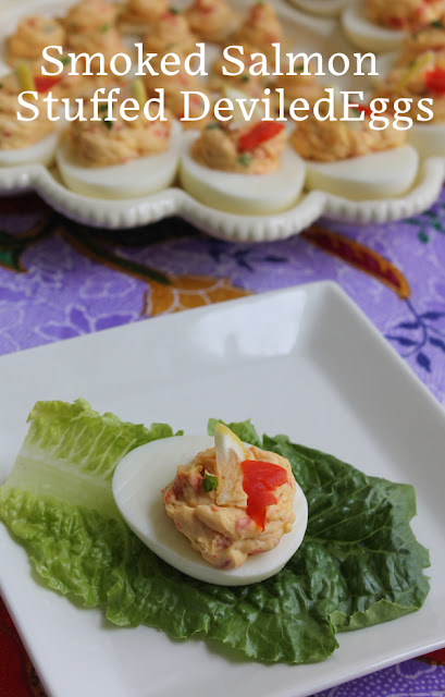 Food Lust People Love: Salty and full of flavor, smoked wild salmon is an excellent addition to stuffed deviled eggs, especially with cream cheese and chives. Serve them at your next party or keep the whole plate for your family!
