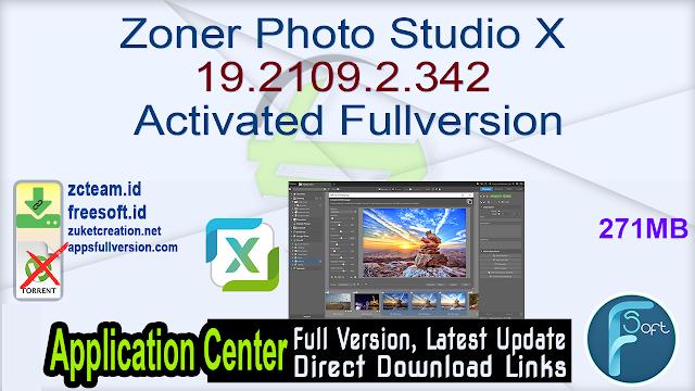 Zoner Photo Studio X 19.2109.2.342 Activated Fullversion