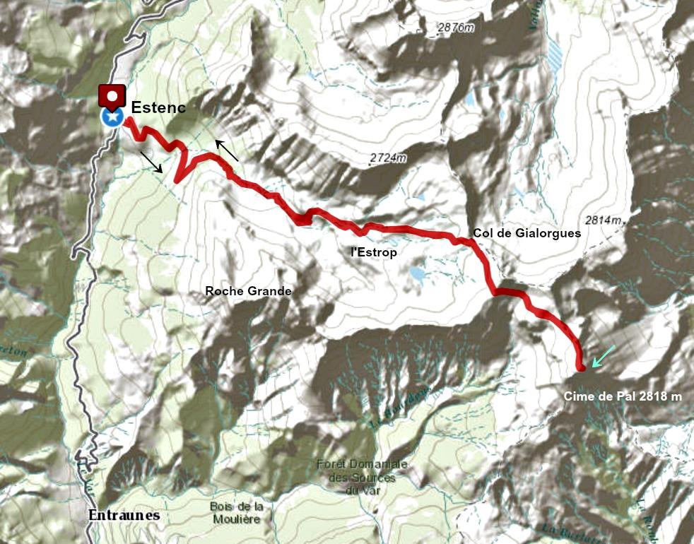 Cime de Pal trail track
