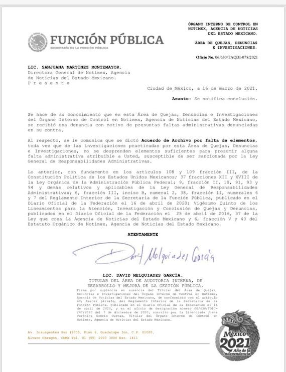 'Archiva' SFP denuncia contra Sanjuana Martínez; AMLO la defiende