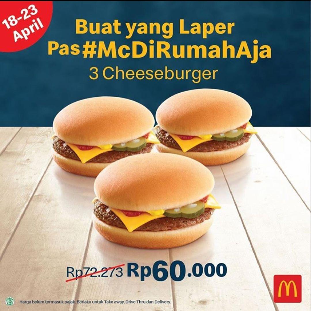 Promo McD 3 PCS Double Cheeseburger Rp 70.000 Berlaku 18 - 23 April 2020