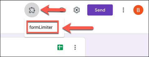 لتشغيل formLimiter في نموذج Google Forms الخاص بك ، اضغط على Add-ons> formLimiter.