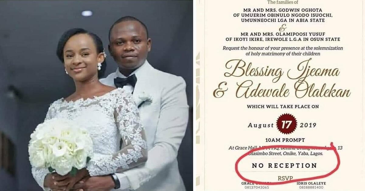 Nigerian couple goes viral after announcing they won't have party after wedding