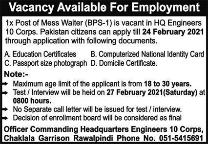 Pakistan Army Headquarters Engineers 10 Corps Job 2021 in Rawalpindi
