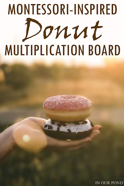 Montessori-Inspired Multiplication Board with Donuts // In Our Pond // math practice // multiplication // elementary school // free printable// national donut day // doughnut math // homeschooling