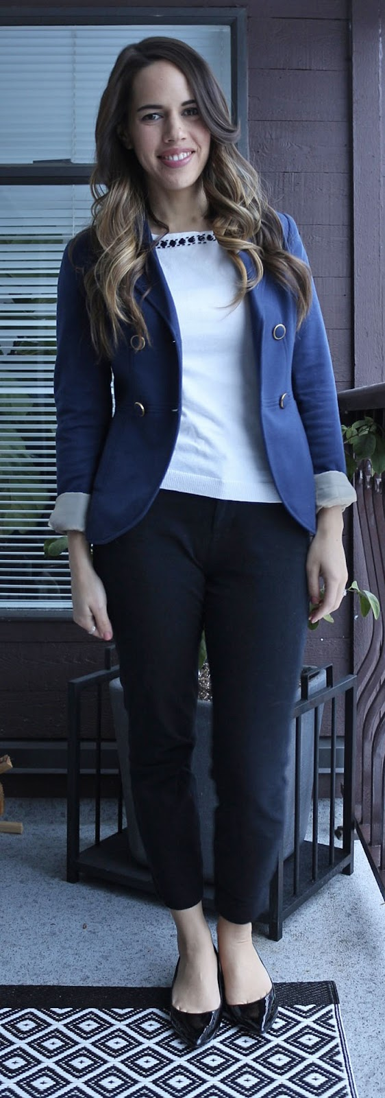 Jules in Flats - H&M Blazer, Banana Republic Factory Sweater, Old Navy Pixie Pants