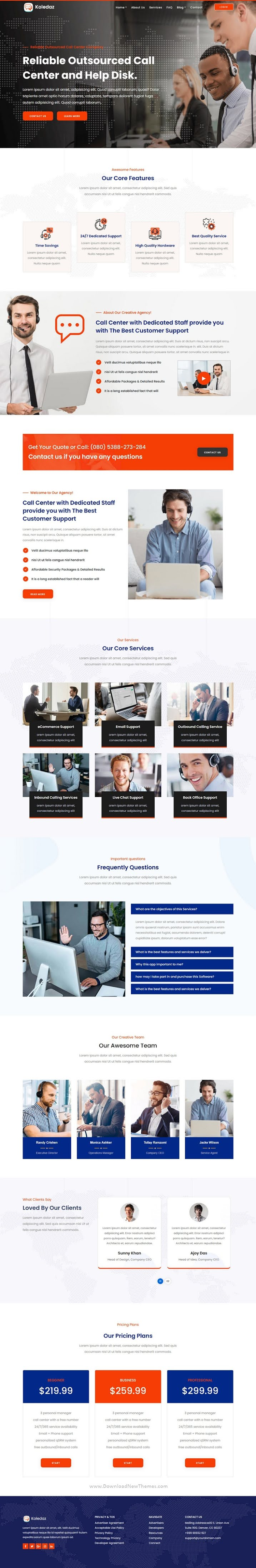 Call Center Services and Telemarketing Company Template