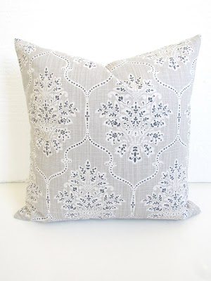 gray white floral pillow under $20