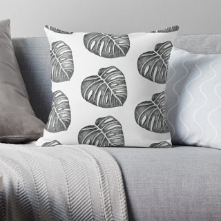 monochrome monstera leaf throw pillow