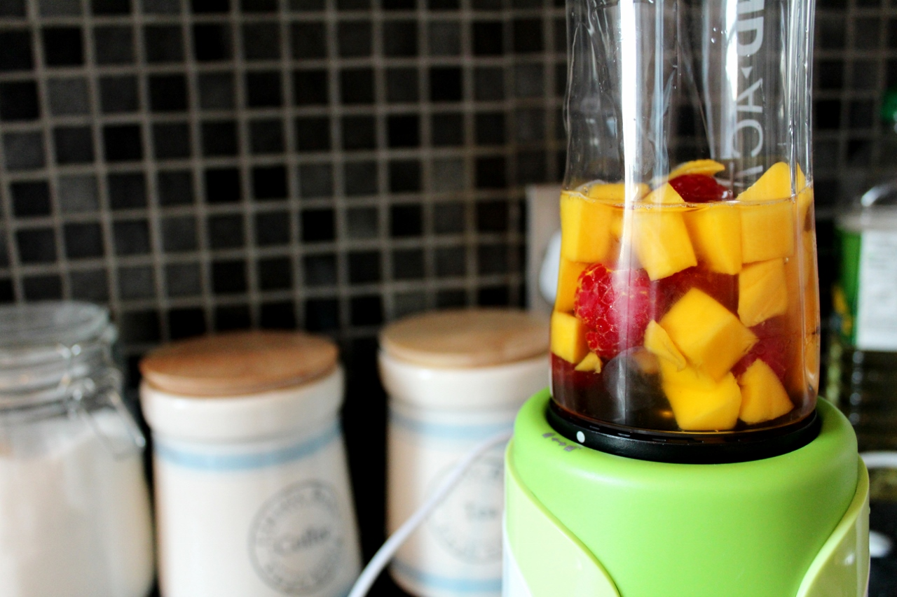 fruit in a blender