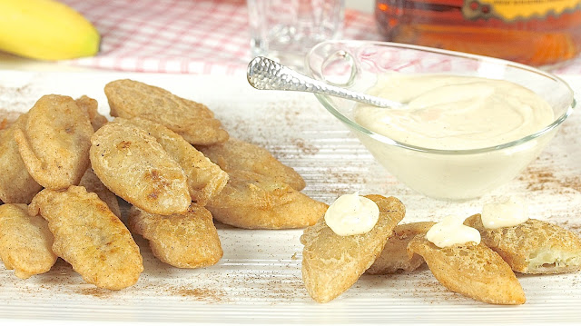 Fried Bananas with Fireball Cinnamon Cream Cheese Dip