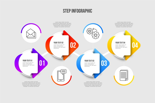 Modern infographic steps in gradient Free Vector Web Web Elements