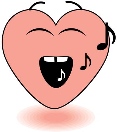 Singing heart emoticon
