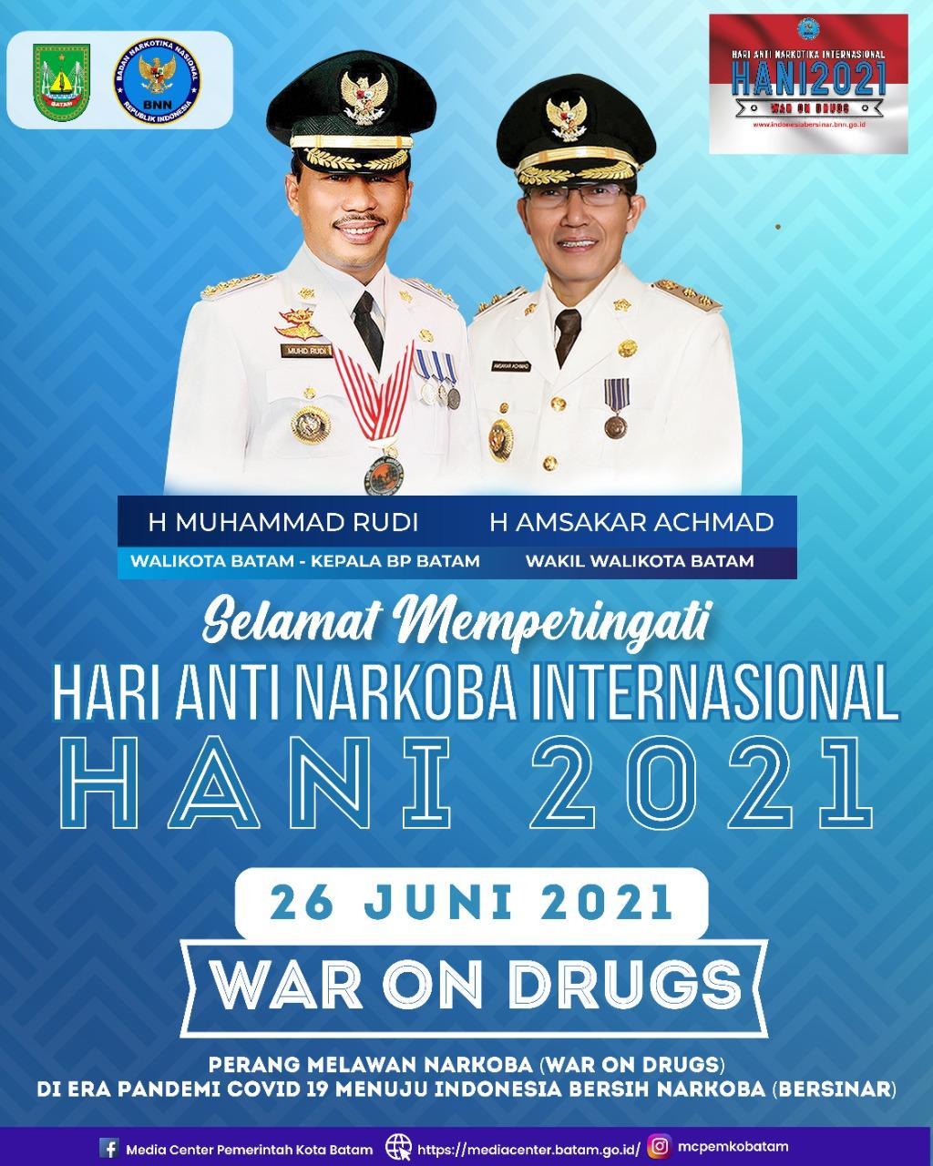 Rudi-Amsakar Ucapkan Selamat HANI 2021, Bangun Kolektivitas Selamatkan Generasi dan Bangsa dari Bahaya Narkoba