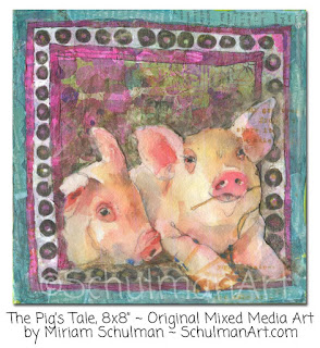 pig art | pig painting | animal art | animal painting | art by Miriam Schulman