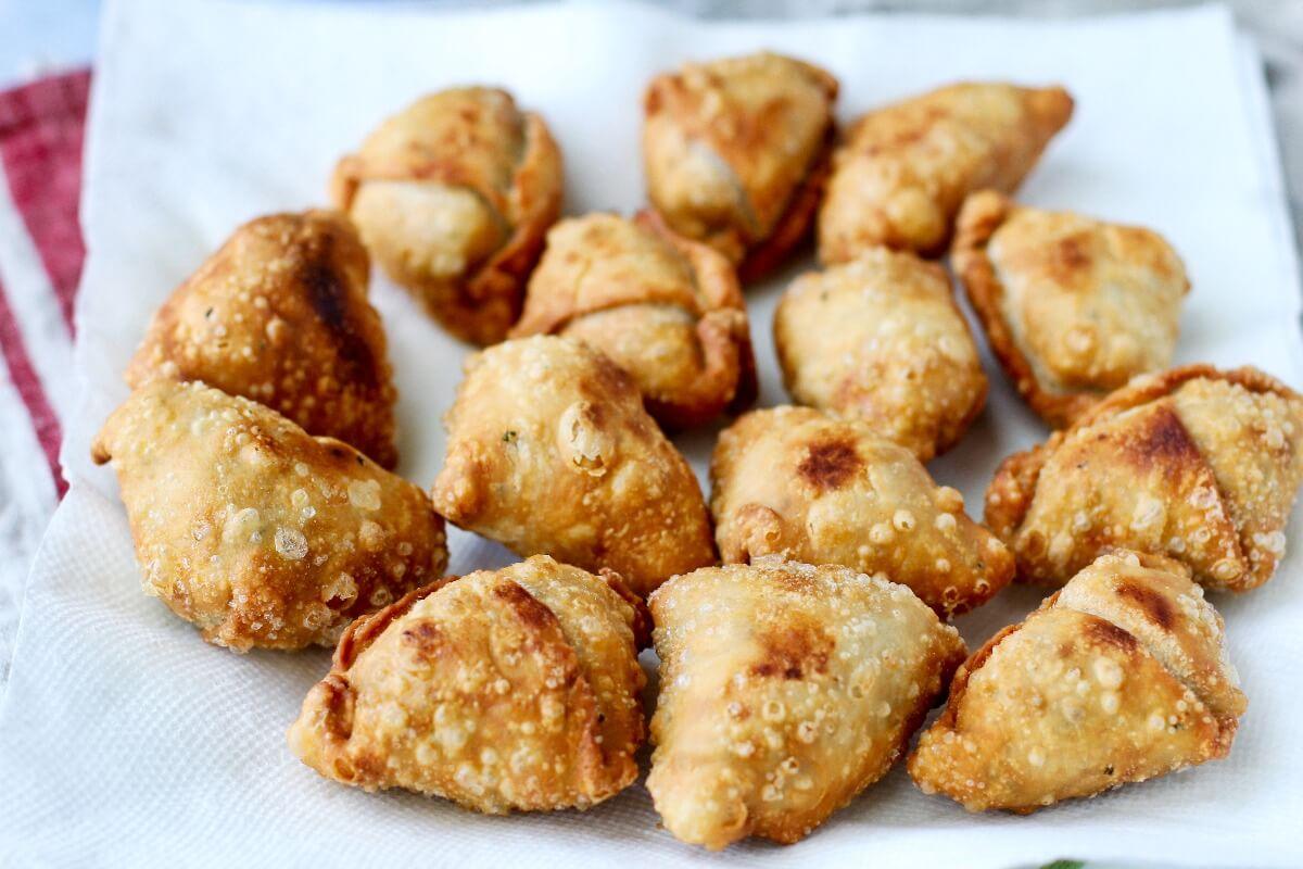 Potato (Aloo) Samosas freshly fried