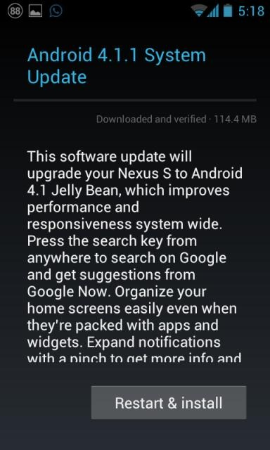 Android 4.1.1 Jelly Bean for Nexus S