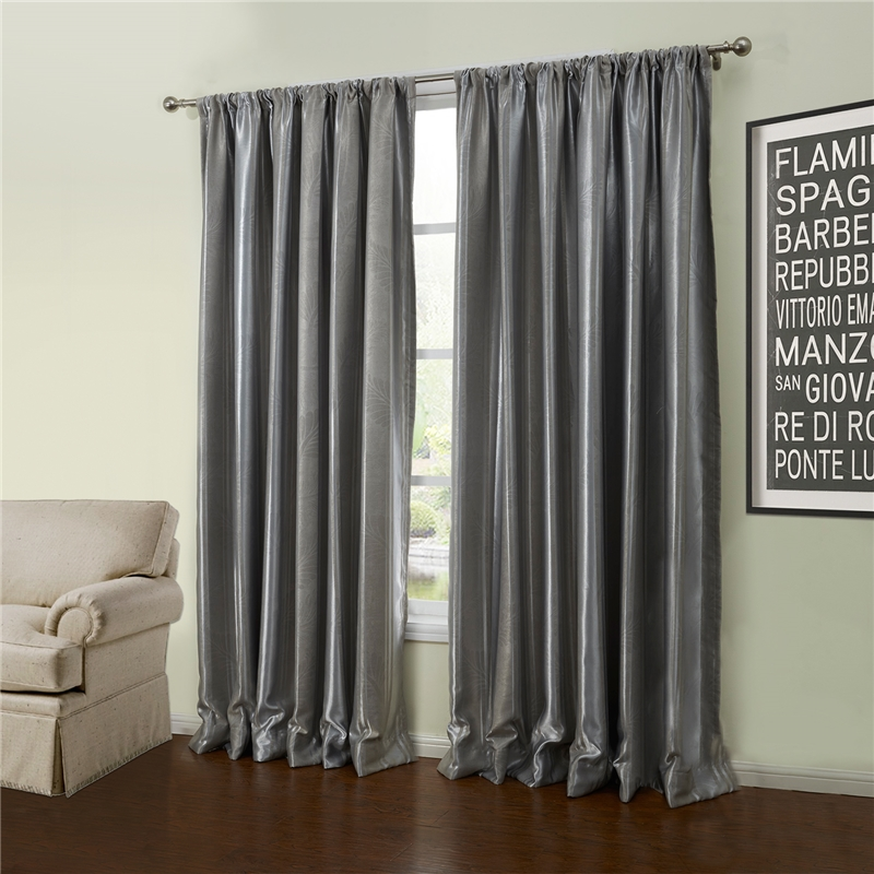 Custom Blackout Curtain Modern Embossed Grey Geometric Pattern Polyester Window Treatment- 56 ( One Panel )