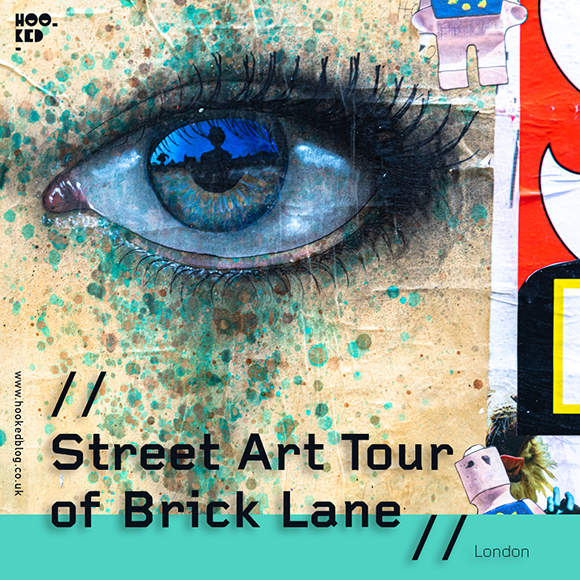 One of My Dog Sighs street art eyes as part of our Street Art Tour of Brick Lane