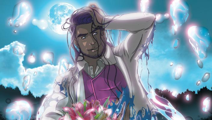 Imagem: ilustração de um homem muito bonito e de cabelos rosa saindo das águas de um rio iluminado pela lua cheia, as roupas brancas com detalhes cor de rosa.