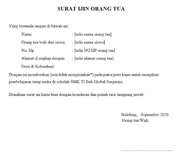 Contoh Surat Izin Orang Tua (via: smktibaliglobalsingaraja.sch.id)
