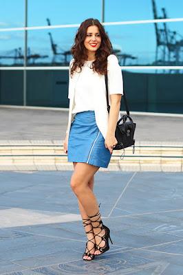 Rok Mini A Line Kulit Leather Manis paha mulus model Influencer