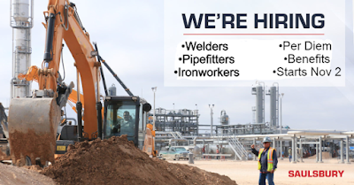 Per Diem: Welders, Pipefitters, and Ironworkers Needed for New Project in Louisiana Starts Nov 2.