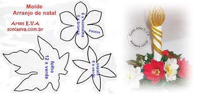 Molde arranjo de natal com flores de EVA