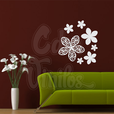 vinilo decorativo pared flores