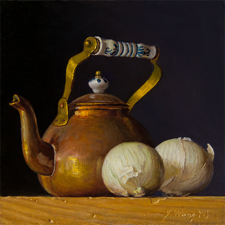 Wang Fine Art Teapot With Onions Still Life Oil Painting Original