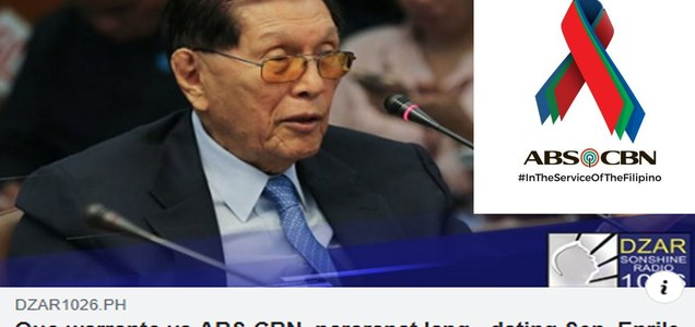 One of the country's brilliant legal minds, former SP Juan Ponce Enrile speaks up re Quo warranto petition filed by Solgen Calida vs ABS-CBN franchise   PTN