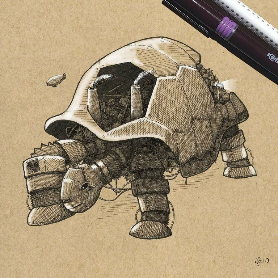 08-Steampunk-turtle-Dejvid-Knezevic-www-designstack-co