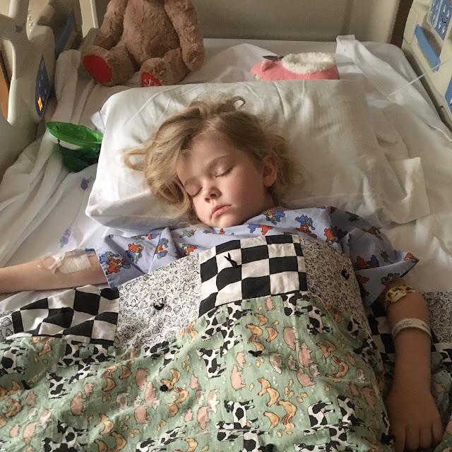 Daphne sleeping in hospital