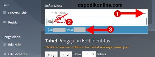 Pilih nama siswa yang akan diedit identitasnya
