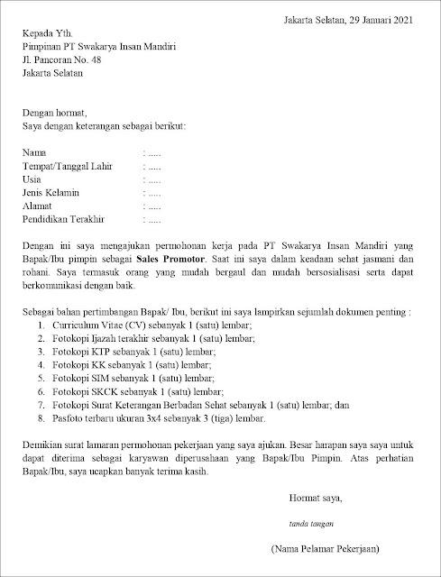 contoh application letter sales promotor (fresh graduate) Berdasarkan Inisiatif Sendiri