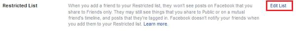 Restricted List option
