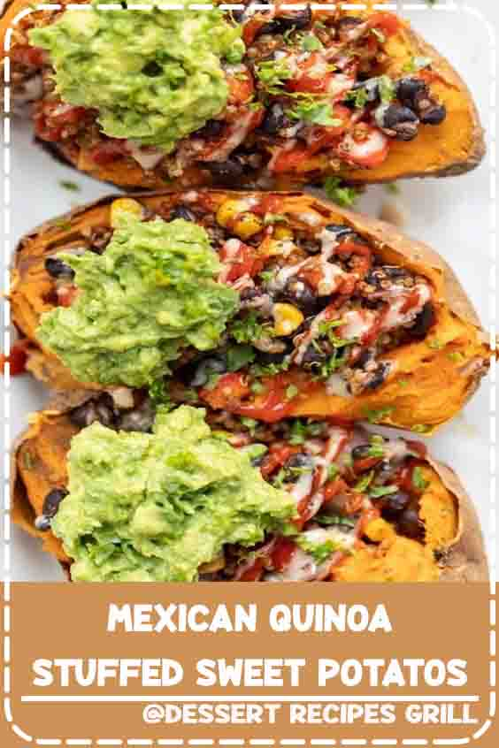 3.1★★★★★| This recipe for Mexican Quinoa Stuffed Sweet Potatoes is an amazing way to pack in a ton of plant-based protein in a tasty, gluten-free and#vegan #cooking #recipes